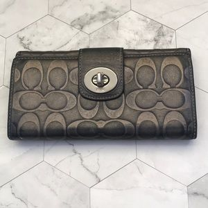 GUC Coach Bifold Metallic Wallet Gray